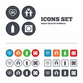 stock photo of gay symbol  - Condom safe sex icons - JPG
