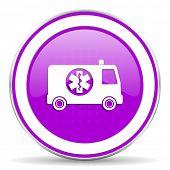 image of ambulance  - ambulance violet icon  - JPG