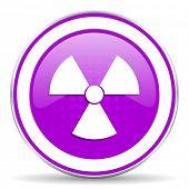 stock photo of atomizer  - radiation violet icon atom sign - JPG