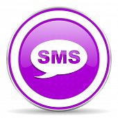 picture of sms  - sms violet icon message sign
