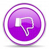 picture of dislike  - dislike violet icon thumb down sign - JPG