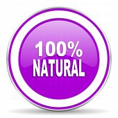 picture of 100 percent  - natural violet icon 100 percent natural sign - JPG