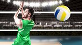 picture of volleyball  - Volleyball player on green uniform on volleyball court - JPG