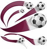 pic of qatar  - qatar flag set with soccer ball isolated on white background - JPG