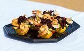 pic of canapes  - shrimp canape starter on a party plate - JPG
