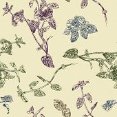 picture of peppermint  - Seamless floral pattern with peppermint sprigs - JPG