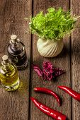 foto of vinegar  - fresh fennel full of vitamins and fibers on wooden table - JPG