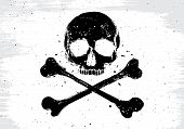 picture of skull crossbones flag  - Pirate vector white flag with black human skull and crossbones illustration in grunge design 