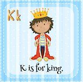 stock photo of letter k  - Flashcard letter K is for king - JPG