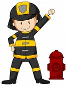 picture of firemen  - Closeup fireman in protective clothes - JPG