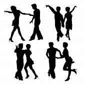 Vector Silhouettes Dancing Man And Woman