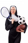 pic of nun  - Pretty nun with sport equipment isolated on white - JPG