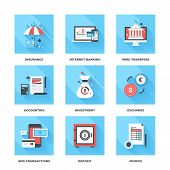 stock photo of transfer  - Vector set of flat banking and finance icons on following themes  - JPG