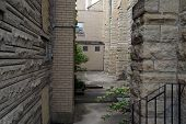picture of carmelite  - The courtyard at the Saint Mary Carmelite Church in Joliet - JPG