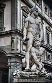 image of hercules  - Hercules and Cacus statue with Uffizi Galley in the background - JPG