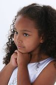 Beautiful Six Year Old Girl Over White poster