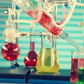 picture of chemical reaction  - Modern chemical laboratory - JPG