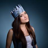 stock photo of princess crown  - Pretty jeans princess - JPG