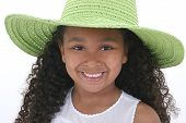 Beautiful Six Year Old Girl In Green Over White poster