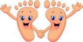 stock photo of waving hands  - Vector illustration of Cartoon happy foot holding hands - JPG