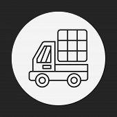 Cargo Truck Lline Icon poster