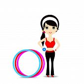 foto of hulahoop  - Woman exercising in sport outfit holding dumbbell with hulahoop on white background - JPG