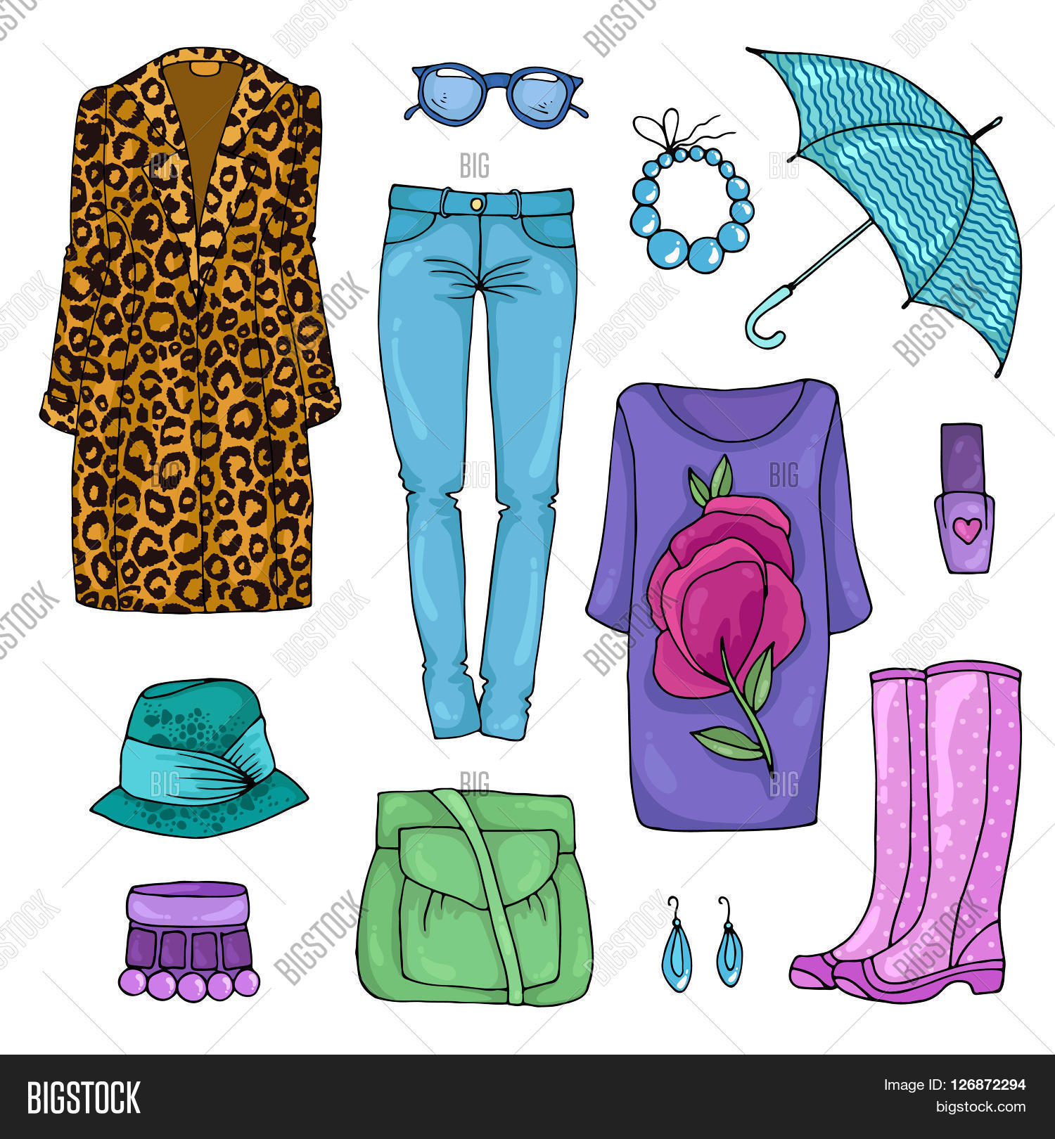 fashion boots drawing. vector drawing set of colorful spring fashion for rainy weather clothes. day. various boots