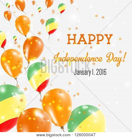 Congo Independence Day Greeting Card. Flying Balloons In Congo National Colors. Happy Independence D