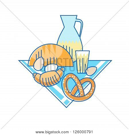Bakery Food Pastry Cook Drinks Thin Line Vector Illustration