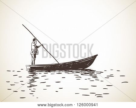Sketch of man standing on boat rowing, Hand drawn illustration