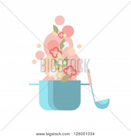 Cook Kitchen Pan Soup Ladle With Vegetables, Kitchen Spoon Flat Vector Illustration