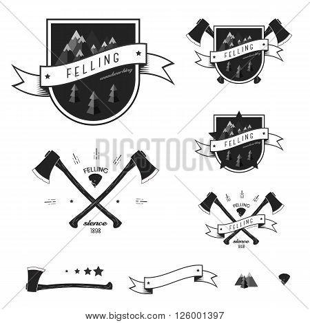 Set logo sawmill service. Vintage sawmill logo with axes, rocks, trees