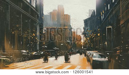 city street with historical building, painting with vintage style