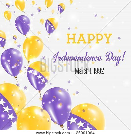Bosnia And Herzegovina Independence Day Greeting Card. Flying Balloons In Bosnia And Herzegovina Nat