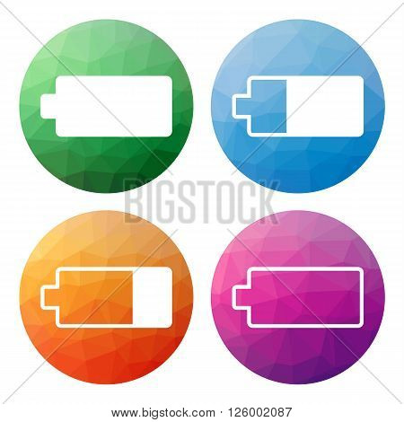 Set  Of 4 Isolated Modern Low Polygonal Buttons - Icons - For Battery
