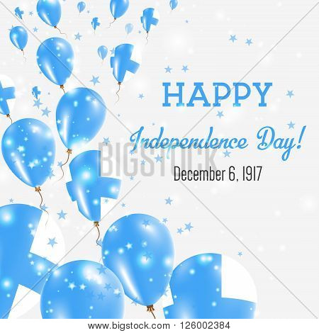Finland Independence Day Greeting Card. Flying Balloons In Finland National Colors. Happy Independen