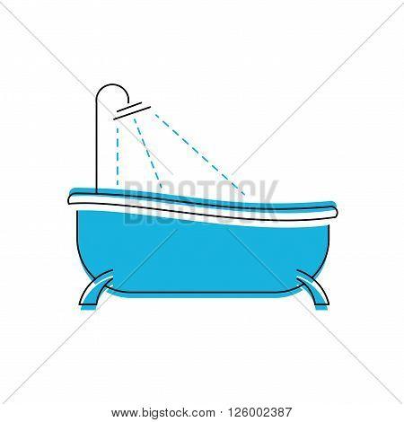 Logo of bath. Bathroom shower vector icon.