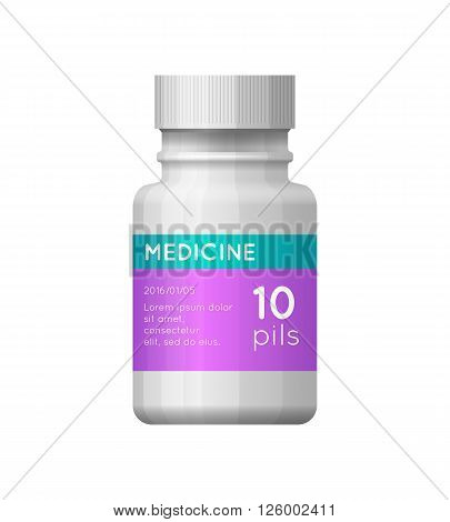 Medicine white bottle with label. Empty plasric bottle for drugs, tablets, capsules, prescriptions, vitamins etc. Pharmaceutic container isolated on white background