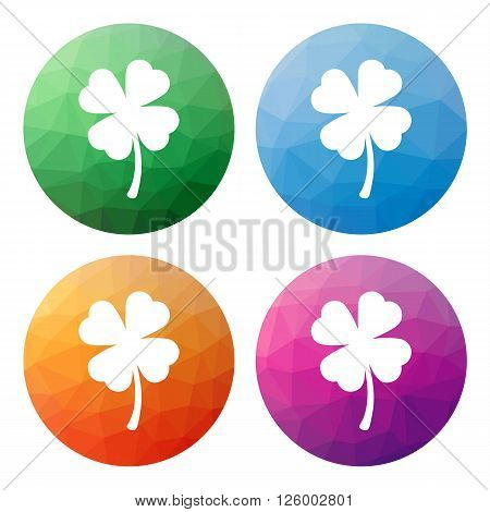 Set  Of 4 Isolated Modern Low Polygonal Buttons - Icons - For Shamrock (four-leaf)