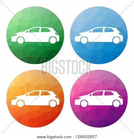 Set  Of 4 Isolated Modern Low Polygonal Buttons - Icons - For Hatchback Car - Cargo, Transport, Etc.