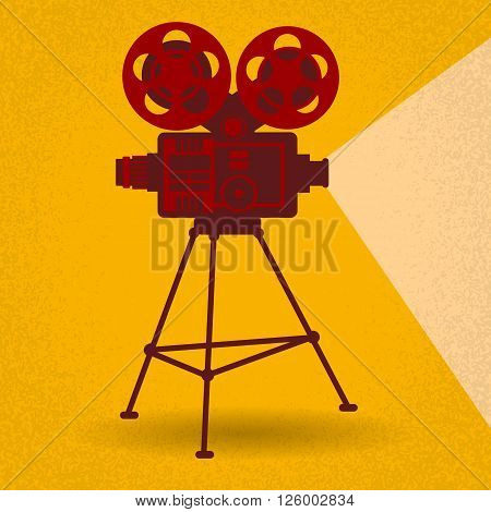 Retro Movie Projector Film Cinema Flat Vector Illustration