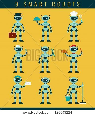 Robot's occupations. Set of smart robots holding positions waiter cleaner postman repairman cook nurse artist student telemarketer. Future technologies. Vector collection of isolated icons.