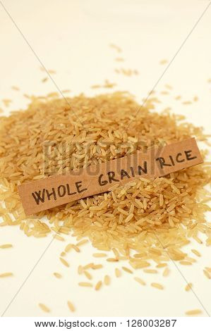 Whole Grain Rice On The White Background