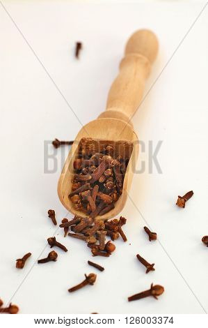 Cloves In The Ladle On The White Background