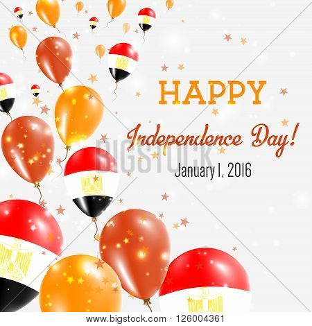 Egypt Independence Day Greeting Card. Flying Balloons In Egypt National Colors. Happy Independence D