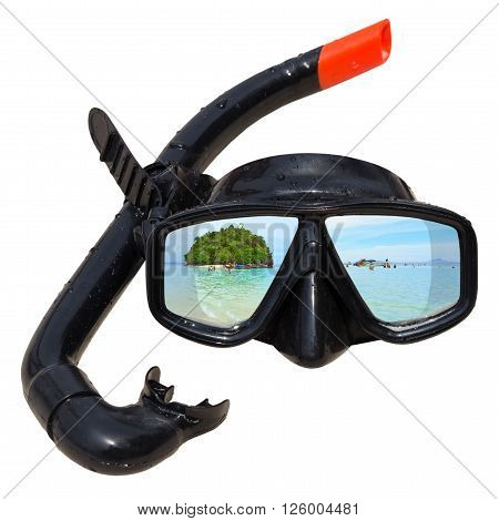 Talaywak AndamanKrabi Thailand is reflected in diving mask and snorkel on the beach, Diving mask idea, Diving mask concept, Diving mask isolated, Diving mask background, Diving mask glass view ocean.