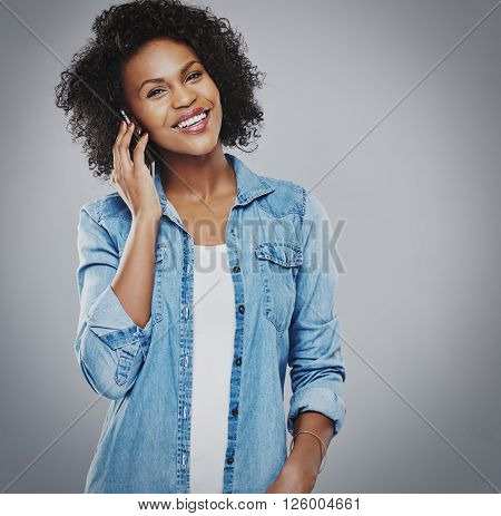 Happy Smiling Woman Talking On Phone