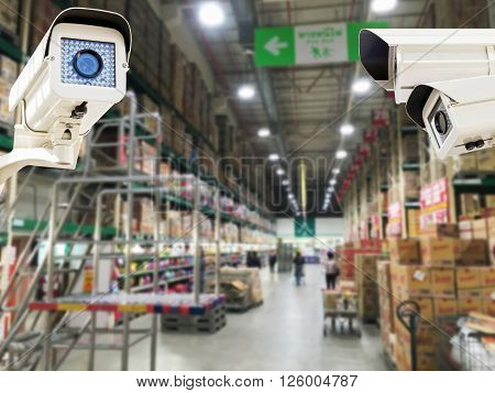 The CCTV Security Camera operating in the supermarket store blur background, CCTV Camera concept, CCTV Camera background, CCTV Camera idea, CCTV Camera copy space, CCTV Camera video.