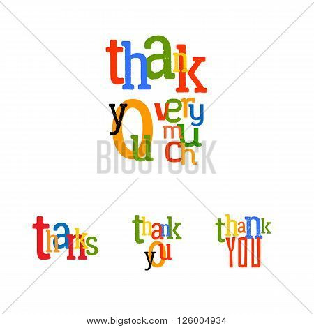 Lettering Thank you very much. Vector typography tag illustration. Thanks colorful set.