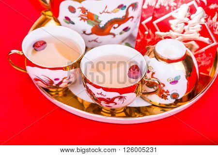 Chinese Tea Set With Envelope Bearing The Word Double Happiness
